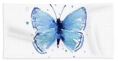 Blue Watercolor Butterfly Hand Towel by Olga Shvartsur