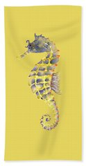 Blue Yellow Seahorse - Square Hand Towel by Amy Kirkpatrick