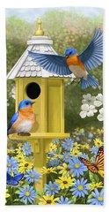 Bluebird Garden Home Hand Towel by Crista Forest