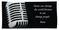 Bono On Music Hand Towel by Paul Ward