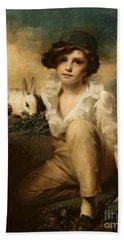 Boy And Rabbit Hand Towel by Sir Henry Raeburn