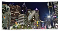 Bright Lights In Philly Hand Towel by Frozen in Time Fine Art Photography