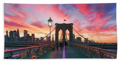 Brooklyn Sunset Hand Towel by Rick Berk
