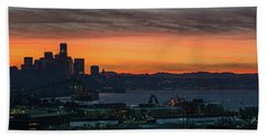Burning Seattle Skyline Sunrise Panorama Hand Towel by Mike Reid