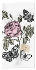 Cabbage Rose Hand Towel by Stephanie Davies