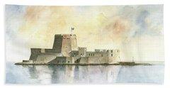 Castle Of Bourtzi In Nafplio Hand Towel by Juan Bosco