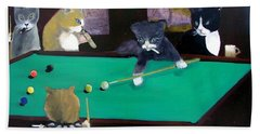 Cats Playing Pool Hand Towel by Gail Eisenfeld