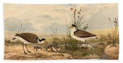 Cayley Masked Lapwing. Vanellus Miles Hand Towel by Neville Henry Penniston