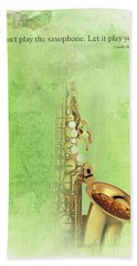 Charlie Parker Saxophone Green Vintage Poster And Quote, Gift For Musicians Hand Towel by Pablo Franchi