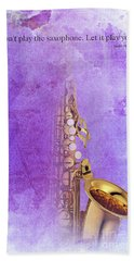 Charlie Parker Saxophone Purple Vintage Poster And Quote, Gift For Musicians Hand Towel by Pablo Franchi