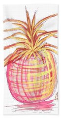 Chic Pink Metallic Gold Pineapple Fruit Wall Art Aroon Melane 2015 Collection By Madart Hand Towel by Megan Duncanson