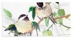 Chickadees Hand Towel by Suren Nersisyan