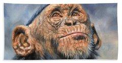 Chimp Hand Towel by David Stribbling