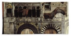 Circassian Cavalry Awaiting Their Commanding Officer At The Door Of A Byzantine Monument Hand Towel by Alberto Pasini