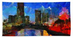 City Living - Tokyo - Skyline Hand Towel by Sir Josef - Social Critic - ART