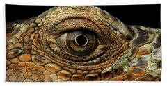 Closeup Eye Of Green Iguana, Looks Like A Dragon Hand Towel by Sergey Taran