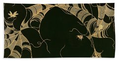 Cobwebs And Insects Hand Towel by Japanese School