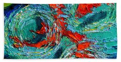 Colorful Koi Fishes In Lily Pond Hand Towel by Mona Edulesco