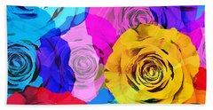 Colorful Roses Design Hand Towel by Setsiri Silapasuwanchai