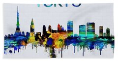 Colorful Tokyo Skyline Silhouette Hand Towel by Dan Sproul
