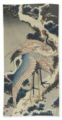Cranes On Pine Hand Towel by Hokusai
