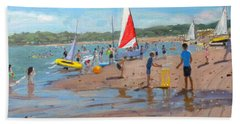Cricket And Red And White Sail Hand Towel by Andrew Macara
