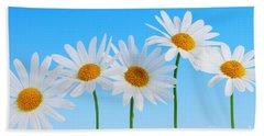 Daisy Flowers On Blue Hand Towel by Elena Elisseeva