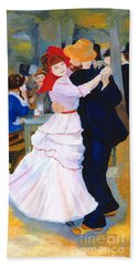 Bath Towel featuring the painting Dance At Bougival After Renoir by Rodney Campbell