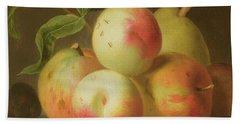 Detail Of Apples On A Shelf Hand Towel by Jakob Bogdany