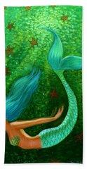 Diving Mermaid Fantasy Art Hand Towel by Sue Halstenberg