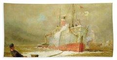 Docking A Cargo Ship Hand Towel by William Lionel Wyllie
