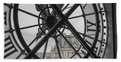 D'orsay Clock Paris Hand Towel by Joan Carroll