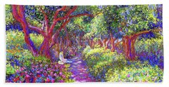 Dove And Healing Garden Hand Towel by Jane Small