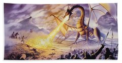 Dragon Battle Hand Towel by The Dragon Chronicles - Steve Re