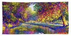 Drifting Beauties, Swans, Colorful Modern Impressionism Hand Towel by Jane Small