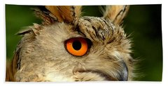 Eagle Owl Hand Towel by Jacky Gerritsen