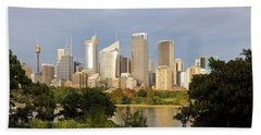 Eastern Sydney Skyline Hand Towel by Nicholas Blackwell