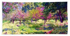 Echoes From Heaven, Spring Orchard Blossom And Pheasant Hand Towel by Jane Small