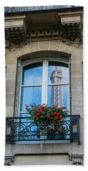 Eiffel Tower Paris Apartment Reflection Hand Towel by Mike Reid