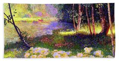 Enchanted By Daisies, Modern Impressionism, Wildflowers, Silver Birch, Aspen Hand Towel by Jane Small