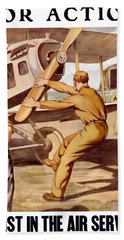 Enlist In The Air Service Hand Towel by War Is Hell Store