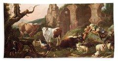 Farm Animals In A Landscape Hand Towel by Johann Heinrich Roos