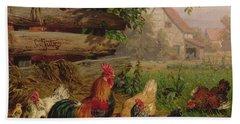 Farmyard Chickens Hand Towel by Carl Jutz
