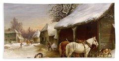 Farmyard In Winter  Hand Towel by Henry Woollett