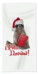 Feliz Navidad - Raccoon Hand Towel by Gravityx9  Designs