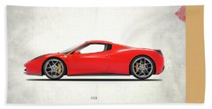 Ferrari 458 Italia Hand Towel by Mark Rogan