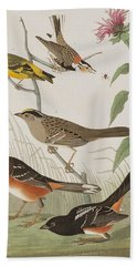 Finches Hand Towel by John James Audubon