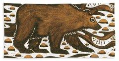 Fishing Bear Hand Towel by Nat Morley