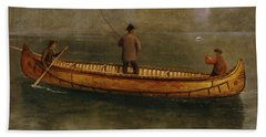 Fishing From A Canoe Hand Towel by Albert Bierstadt