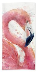 Flamingo - Facing Right Hand Towel by Olga Shvartsur